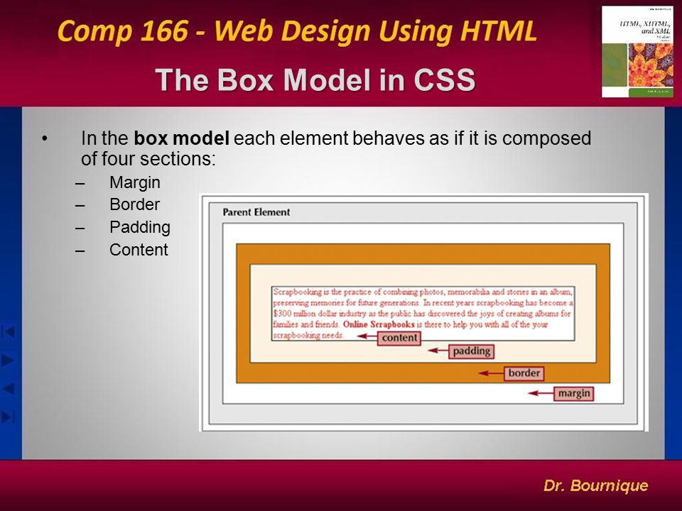17 The Box Model in CSS In the box model each element behaves as if it is composed of four sections: –Margin –Border –Padding –Content