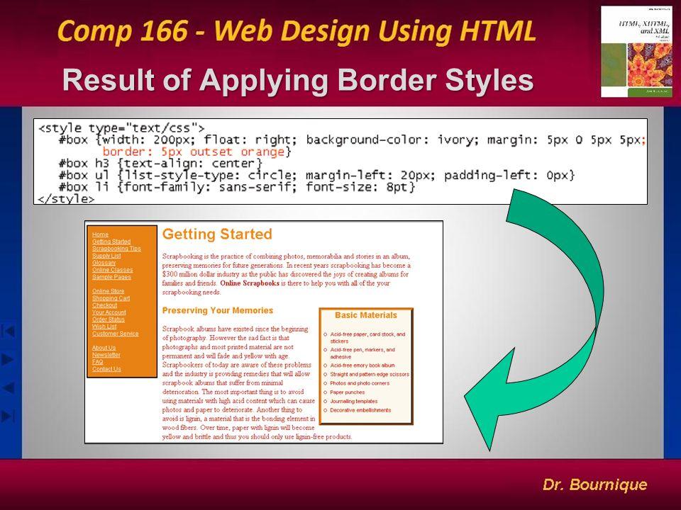 21 Result of Applying Border Styles