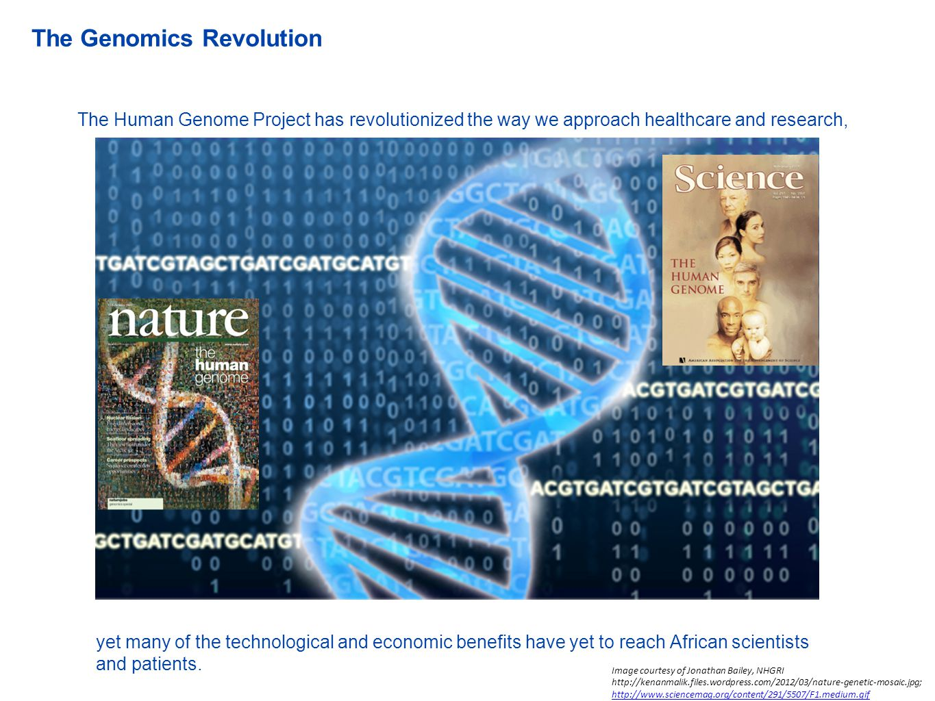 The Human Genome Project has revolutionized the way we approach healthcare and research, yet many of the technological and economic benefits have yet to reach African scientists and patients.