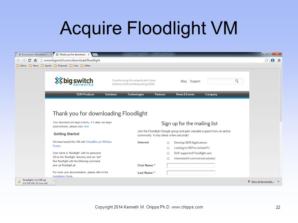 Acquire Floodlight VM Copyright 2014 Kenneth M. Chipps Ph.D. www.chipps.com 22
