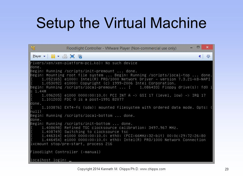 Setup the Virtual Machine Copyright 2014 Kenneth M. Chipps Ph.D. www.chipps.com 29