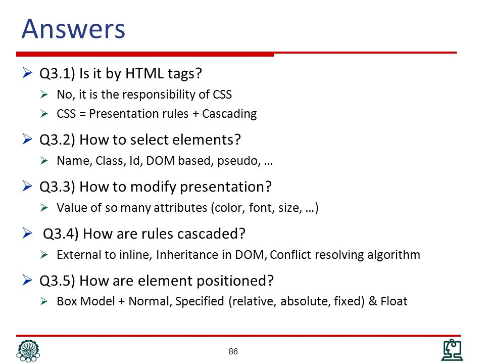 Answers  Q3.1) Is it by HTML tags.