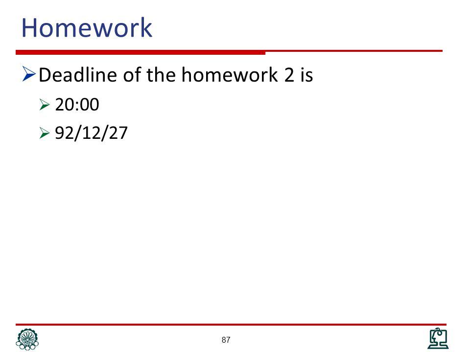 Homework  Deadline of the homework 2 is  20:00  92/12/27 87