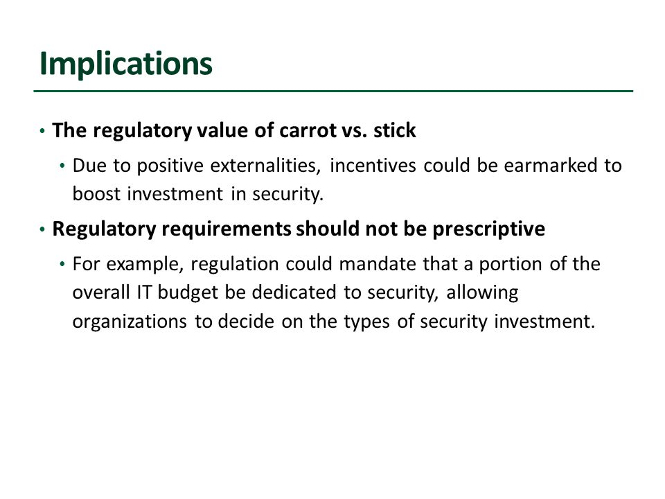 Implications The regulatory value of carrot vs.