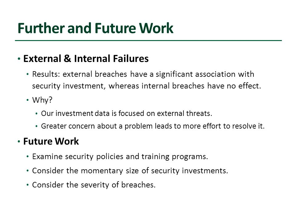 Further and Future Work External & Internal Failures Results: external breaches have a significant association with security investment, whereas internal breaches have no effect.