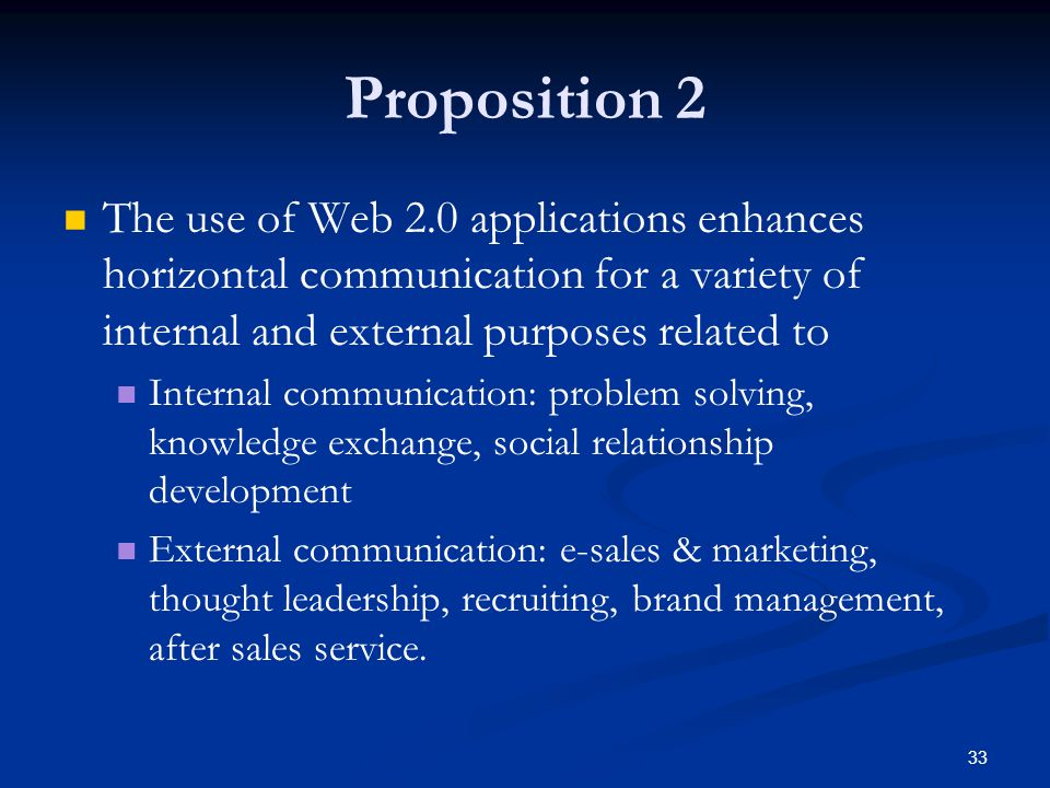 33 Proposition 2 The use of Web 2.0 applications enhances horizontal communication for a variety of internal and external purposes related to Internal