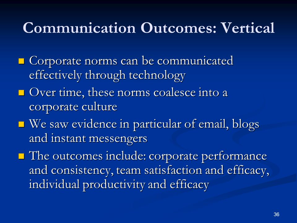 36 Communication Outcomes: Vertical Corporate norms can be communicated effectively through technology Corporate norms can be communicated effectively