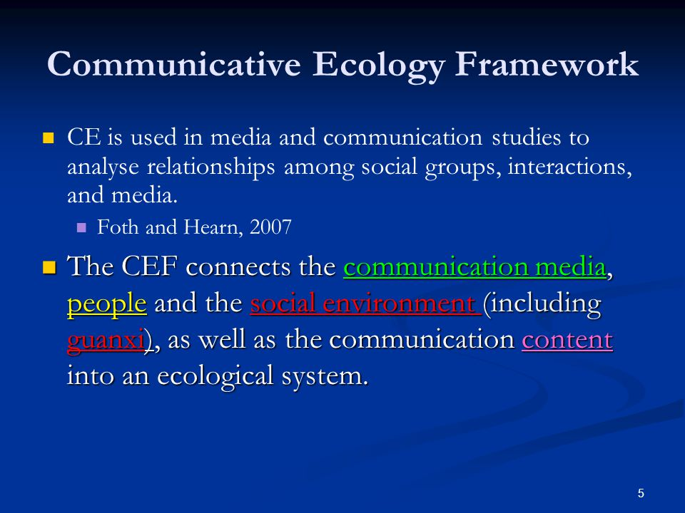 6 Extended Communication Ecology Framework Individuals Social Environment Communication Media Content Guanxi Culture Roles & Identities Created by Louie HM Wong, 2014