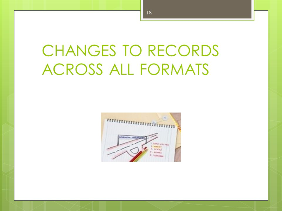 CHANGES TO RECORDS ACROSS ALL FORMATS 18