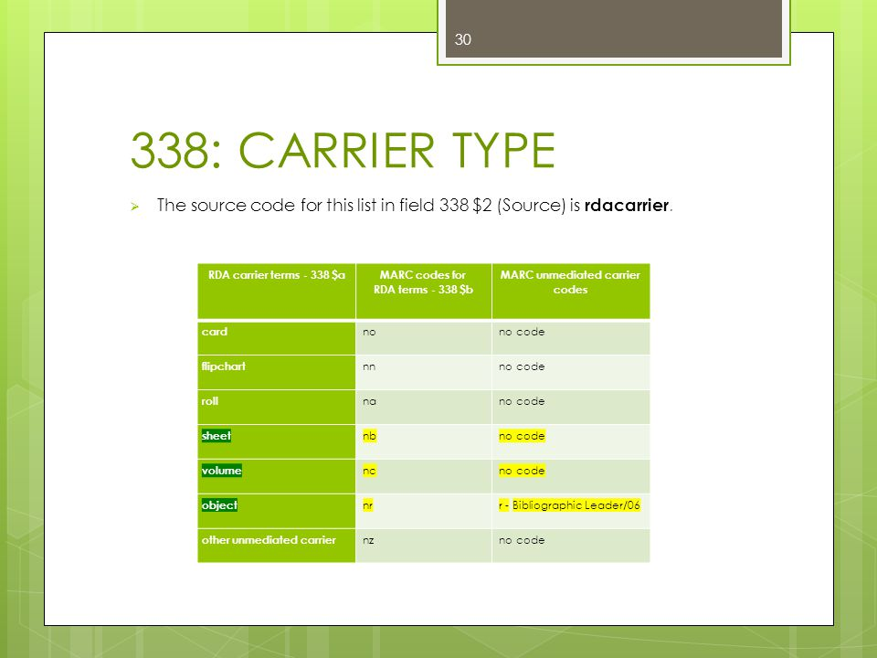 338: CARRIER TYPE  The source code for this list in field 338 $2 (Source) is rdacarrier.