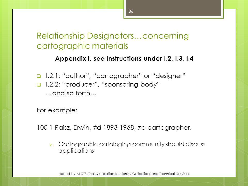 Relationship Designators…concerning cartographic materials Appendix I, see Instructions under I.2, I.3, I.4  I.2.1: author , cartographer or designer  I.2.2: producer , sponsoring body …and so forth… For example: 100 1 Raisz, Erwin, ≠d 1893-1968, ≠e cartographer.