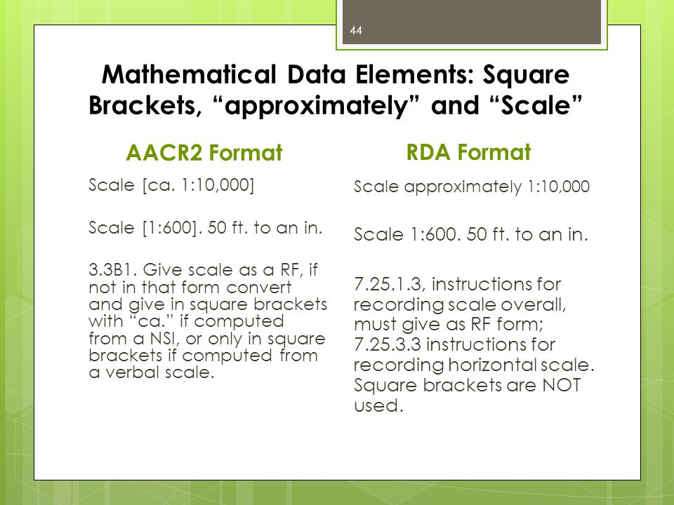 Mathematical Data Elements: Square Brackets, approximately and Scale AACR2 Format Scale [ca.