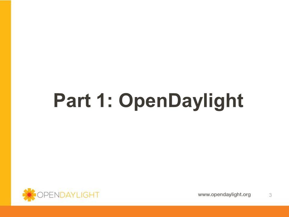 www.opendaylight.org  Start OpenDaylight controller  cd ~/controller-base/opendaylight/ ./run.sh  Start Mininet  sudo mn --controller=remote,ip=127.0.0.1 --custom ~/handson/topo-fullyMesh.py --topo mytopo  Stop Simple Forwarding.