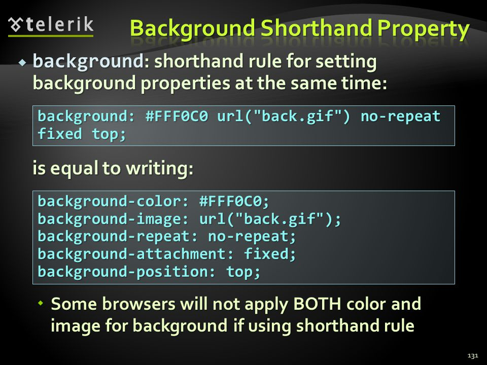  background : shorthand rule for setting background properties at the same time: is equal to writing:  Some browsers will not apply BOTH color and i
