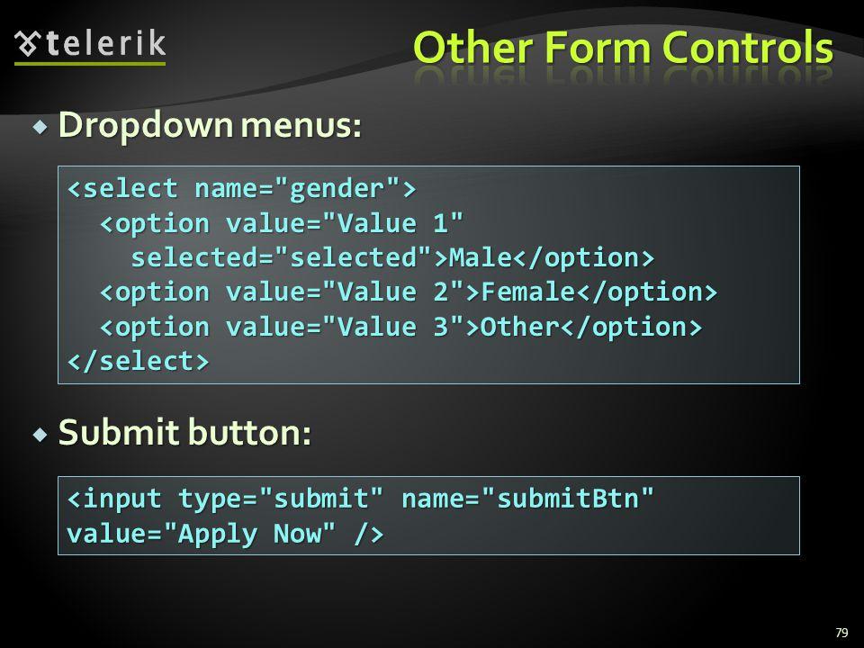  Dropdown menus:  Submit button: 79 <option value= Value 1 <option value= Value 1 selected= selected >Male selected= selected >Male Female Female Other Other </select>