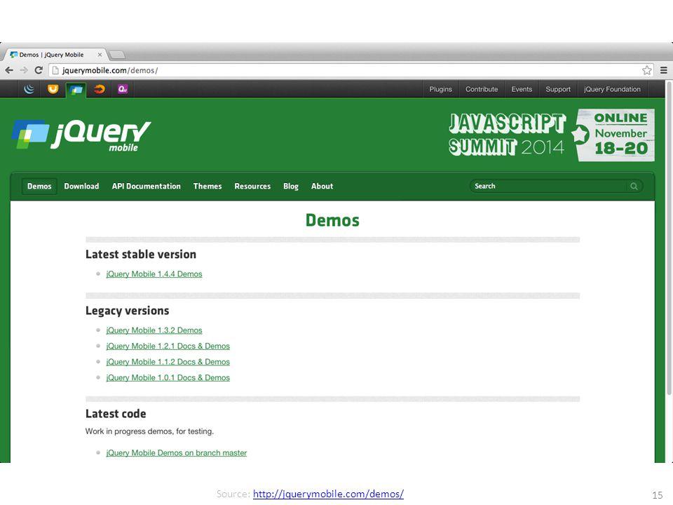 15 Source: http://jquerymobile.com/demos/http://jquerymobile.com/demos/