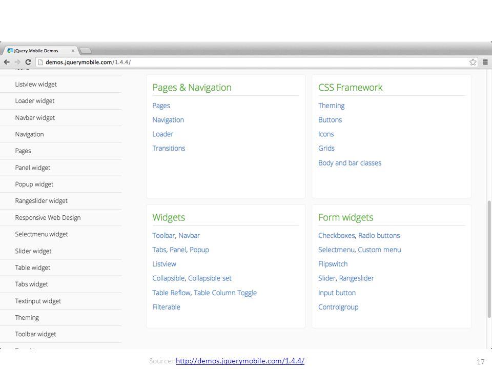 17 Source: http://demos.jquerymobile.com/1.4.4/http://demos.jquerymobile.com/1.4.4/