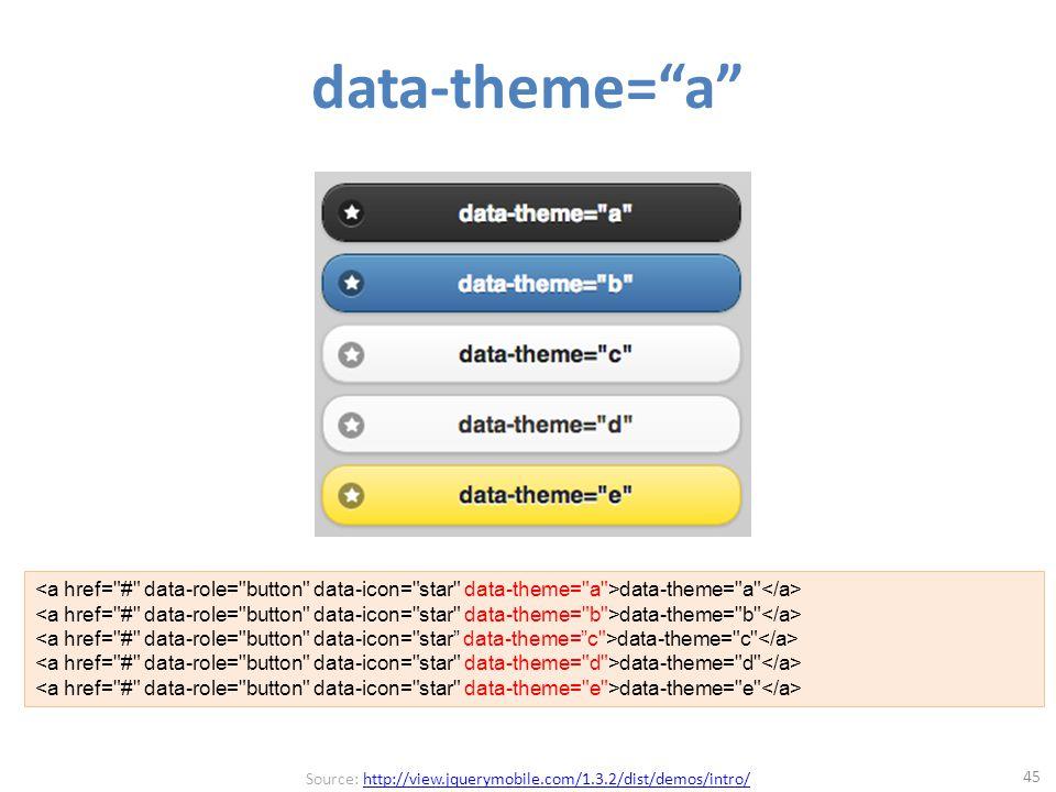data-theme= a 45 data-theme= a data-theme= b data-theme= c data-theme= d data-theme= e Source: http://view.jquerymobile.com/1.3.2/dist/demos/intro/http://view.jquerymobile.com/1.3.2/dist/demos/intro/