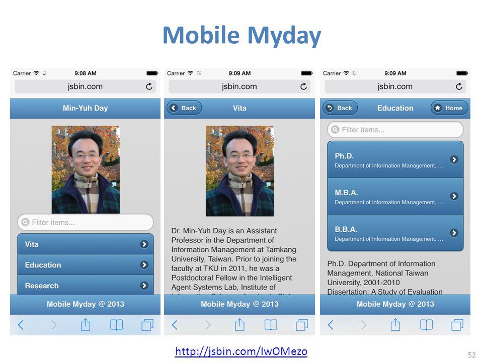 Mobile Myday 52 http://jsbin.com/IwOMezo