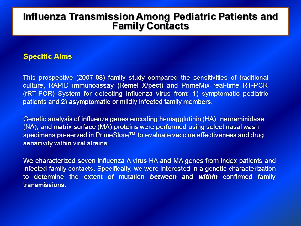 Results- Family Transmissions Influenza Transmission Among Pediatric Patients and Family Contacts 3 of 7 families had at least 1 amino acid change 3 of 7 families had at least 1 amino acid change Mutation at position 173 (within antibody binding site D) was conserved within family transmissions, but highly variable between families Mutation at position 173 (within antibody binding site D) was conserved within family transmissions, but highly variable between families Strain HA1 Hemagglutinin Position in Family Transmissions 383123173208300 A/Texas/12a/2008LKEERI A/Texas/12b/2008FNEERV A/Texas/12c/2008LKEERI A/Texas/42d/2008FNENRI A/Texas/42a/2008FNGNRI A/Texas/4a/2008LKEQRI LKEQGI A/Brisbane/10/2007LKEKRI