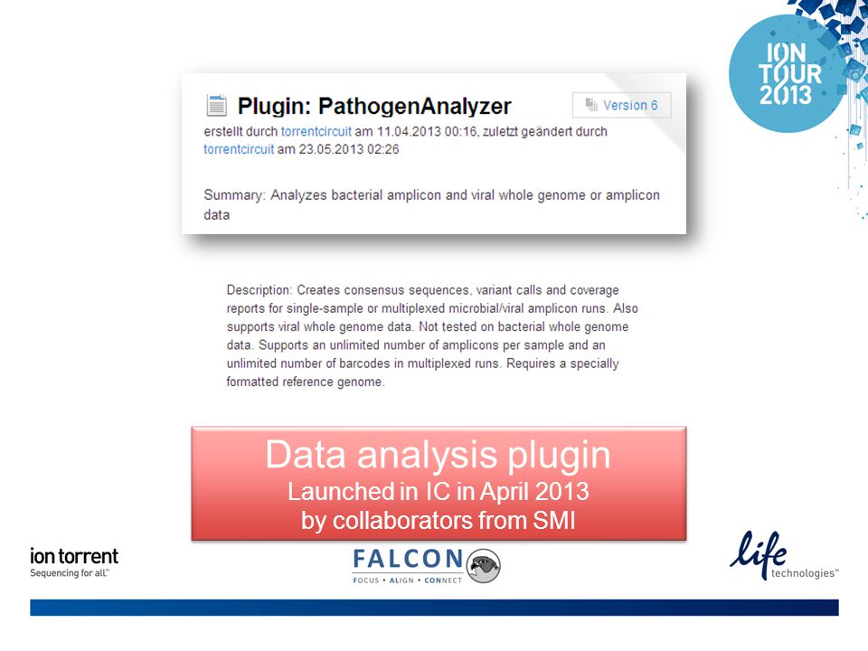 Data analysis plugin Launched in IC in April 2013 by collaborators from SMI Data analysis plugin Launched in IC in April 2013 by collaborators from SMI