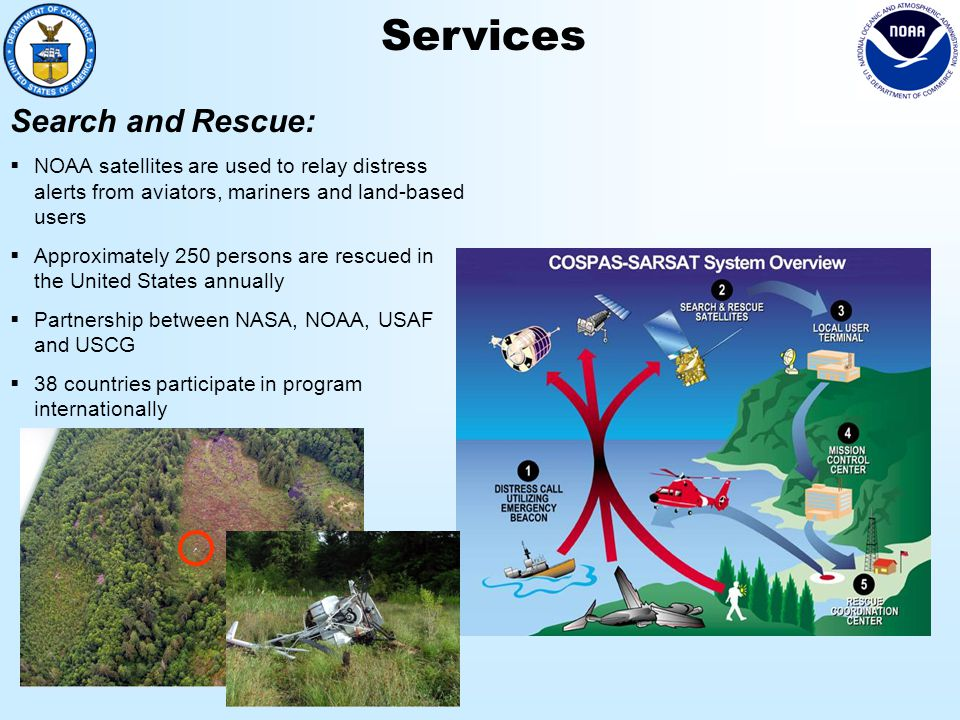 Services Search and Rescue:  NOAA satellites are used to relay distress alerts from aviators, mariners and land-based users  Approximately 250 persons are rescued in the United States annually  Partnership between NASA, NOAA, USAF and USCG  38 countries participate in program internationally