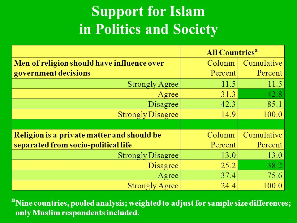 All Countries a Men of religion should have influence over government decisions Column Percent Cumulative Percent Strongly Agree11.5 Agree31.342.8 Disagree42.385.1 Strongly Disagree14.9100.0 Religion is a private matter and should be separated from socio-political life Column Percent Cumulative Percent Strongly Disagree13.0 Disagree25.238.2 Agree37.475.6 Strongly Agree24.4100.0 Support for Islam in Politics and Society a Nine countries, pooled analysis; weighted to adjust for sample size differences; only Muslim respondents included.