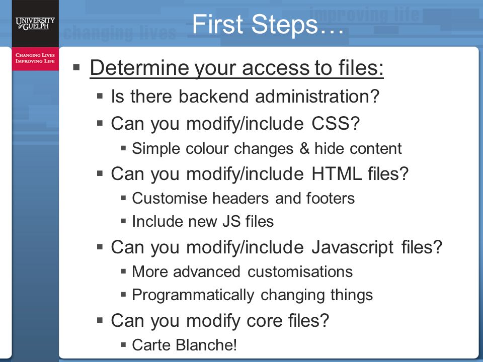First Steps…  Determine your access to files:  Is there backend administration?  Can you modify/include CSS?  Simple colour changes & hide content