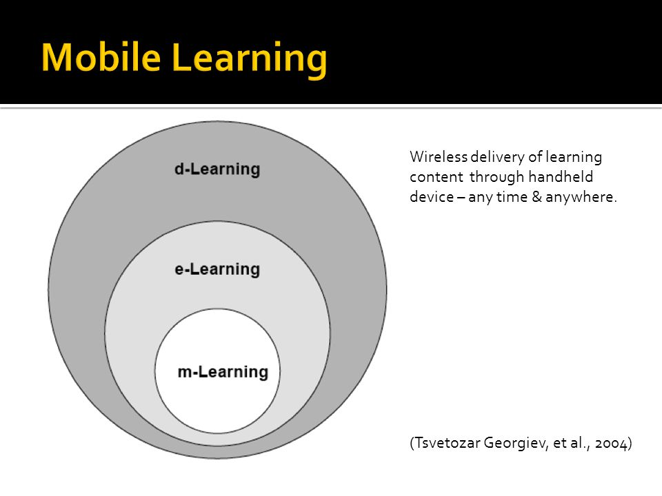 (Tsvetozar Georgiev, et al., 2004) Wireless delivery of learning content through handheld device – any time & anywhere.