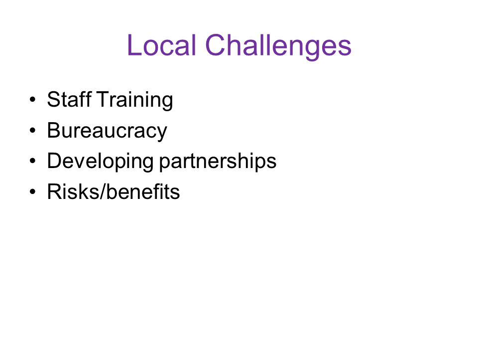 Local Challenges Staff Training Bureaucracy Developing partnerships Risks/benefits