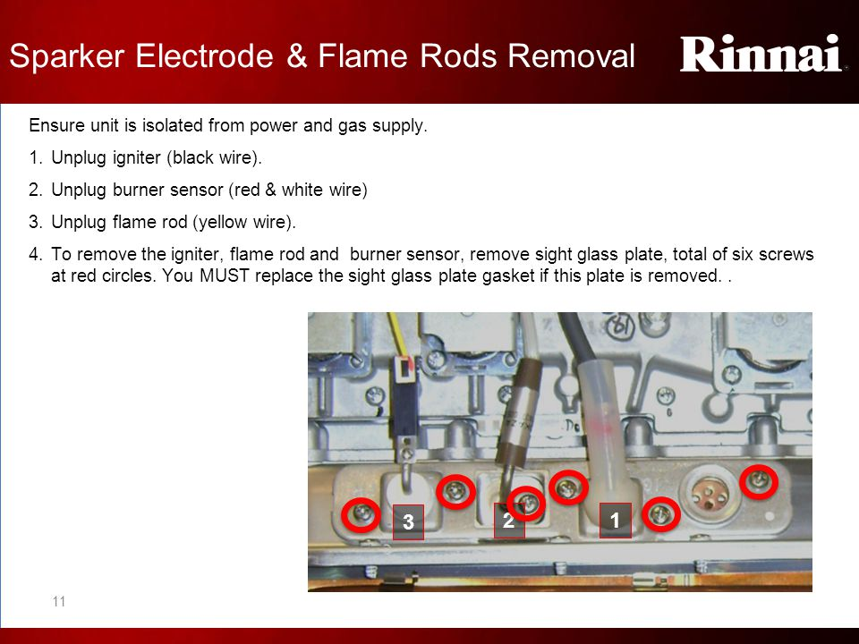 Sparker Electrode & Flame Rods Removal Ensure unit is isolated from power and gas supply. 1.Unplug igniter (black wire). 2.Unplug burner sensor (red &