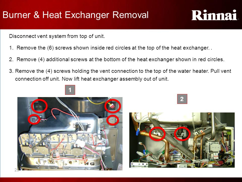 Disconnect vent system from top of unit. 1. Remove the (6) screws shown inside red circles at the top of the heat exchanger.. 2. Remove (4) additional