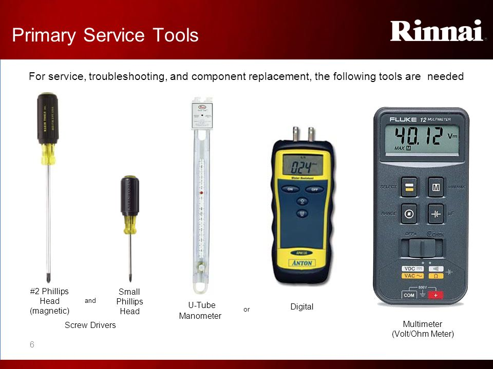 Primary Service Tools For service, troubleshooting, and component replacement, the following tools are needed #2 Phillips Head (magnetic) Small Philli