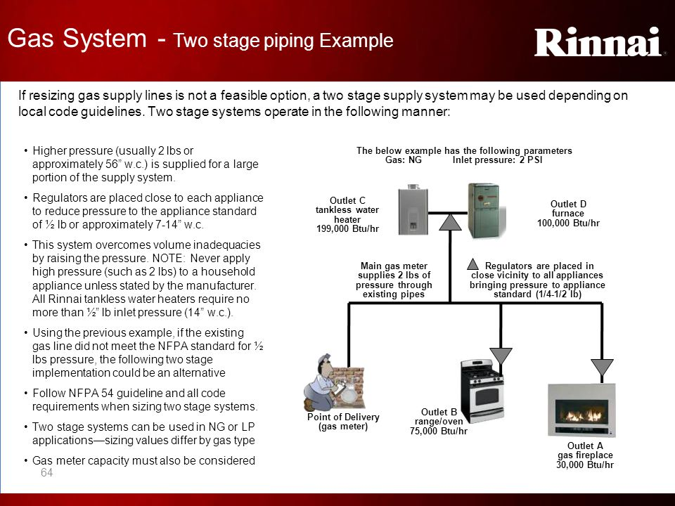 Gas System - Two stage piping Example If resizing gas supply lines is not a feasible option, a two stage supply system may be used depending on local