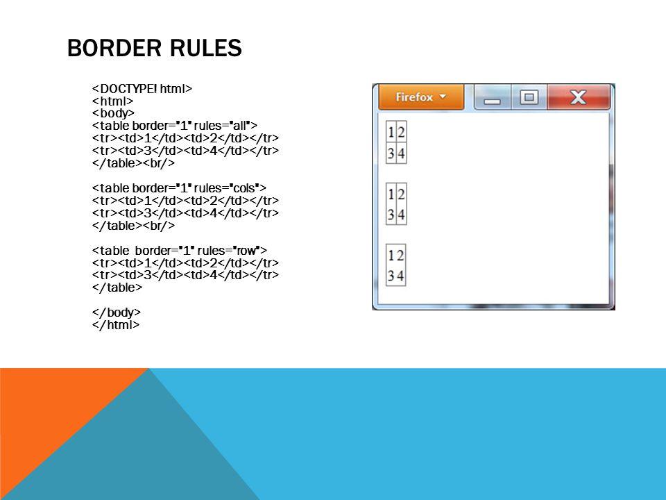 BORDER RULES 1 2 3 4 1 2 3 4 1 2 3 4