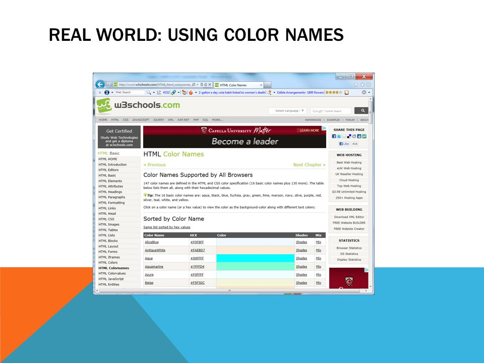 REAL WORLD: USING COLOR NAMES