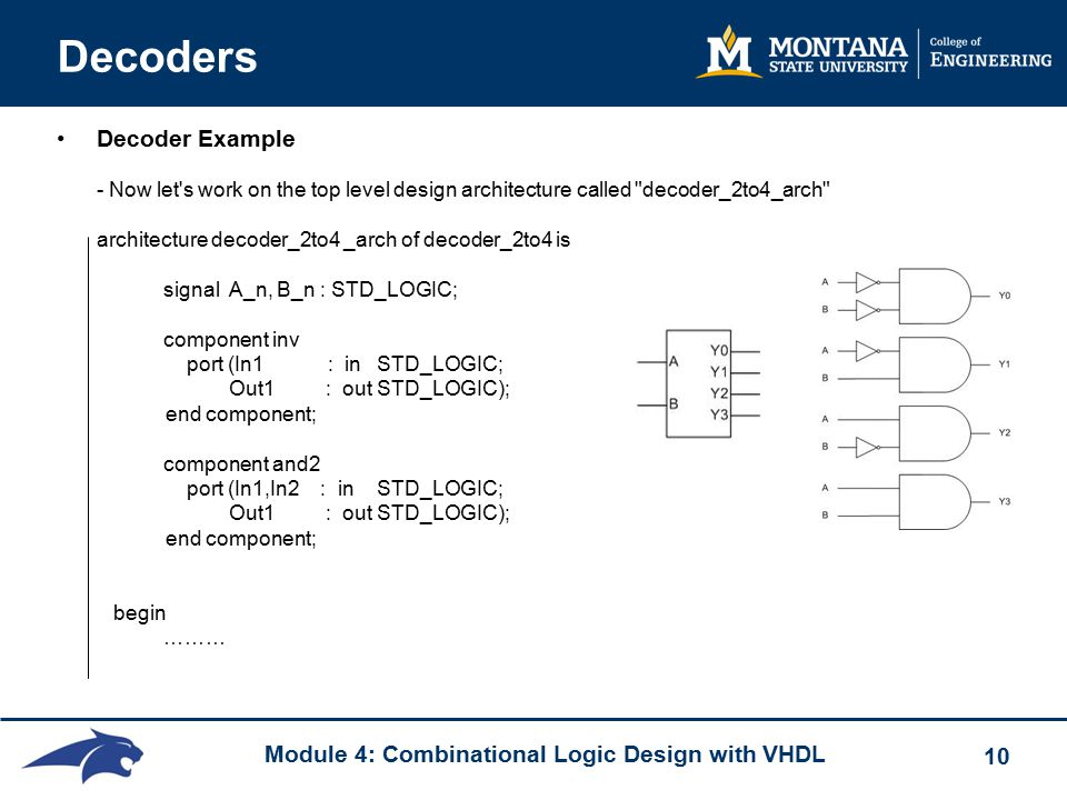 Module 4: Combinational Logic Design with VHDL 10 Decoders Decoder Example - Now let s work on the top level design architecture called decoder_2to4_arch architecture decoder_2to4 _arch of decoder_2to4 is signal A_n, B_n : STD_LOGIC; component inv port (In1 : inSTD_LOGIC; Out1 : outSTD_LOGIC); end component; component and2 port (In1,In2 : inSTD_LOGIC; Out1 : outSTD_LOGIC); end component; begin ………