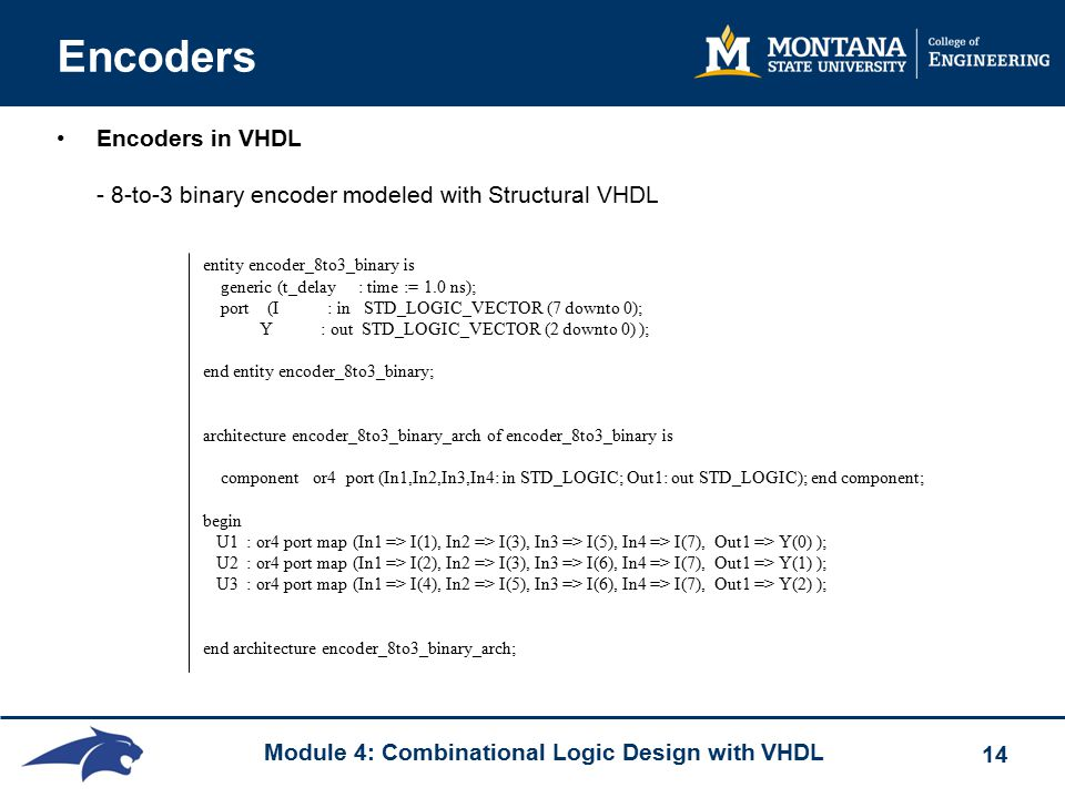 Module 4: Combinational Logic Design with VHDL 14 Encoders Encoders in VHDL - 8-to-3 binary encoder modeled with Structural VHDL entity encoder_8to3_binary is generic (t_delay : time := 1.0 ns); port (I : in STD_LOGIC_VECTOR (7 downto 0); Y : out STD_LOGIC_VECTOR (2 downto 0) ); end entity encoder_8to3_binary; architecture encoder_8to3_binary_arch of encoder_8to3_binary is component or4 port (In1,In2,In3,In4: in STD_LOGIC; Out1: out STD_LOGIC); end component; begin U1 : or4 port map (In1 => I(1), In2 => I(3), In3 => I(5), In4 => I(7), Out1 => Y(0) ); U2 : or4 port map (In1 => I(2), In2 => I(3), In3 => I(6), In4 => I(7), Out1 => Y(1) ); U3 : or4 port map (In1 => I(4), In2 => I(5), In3 => I(6), In4 => I(7), Out1 => Y(2) ); end architecture encoder_8to3_binary_arch;