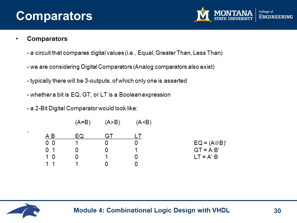 Module 4: Combinational Logic Design with VHDL 30 Comparators Comparators - a circuit that compares digital values (i.e., Equal, Greater Than, Less Than) - we are considering Digital Comparators (Analog comparators also exist) - typically there will be 3-outputs, of which only one is asserted - whether a bit is EQ, GT, or LT is a Boolean expression - a 2-Bit Digital Comparator would look like: (A=B) (A>B) (A<B) A B EQGTLT 0 010 0 EQ = (A  B) 0 10 0 1 GT = A·B 1 0 0 1 0 LT = A ·B 1 1 1 0 0