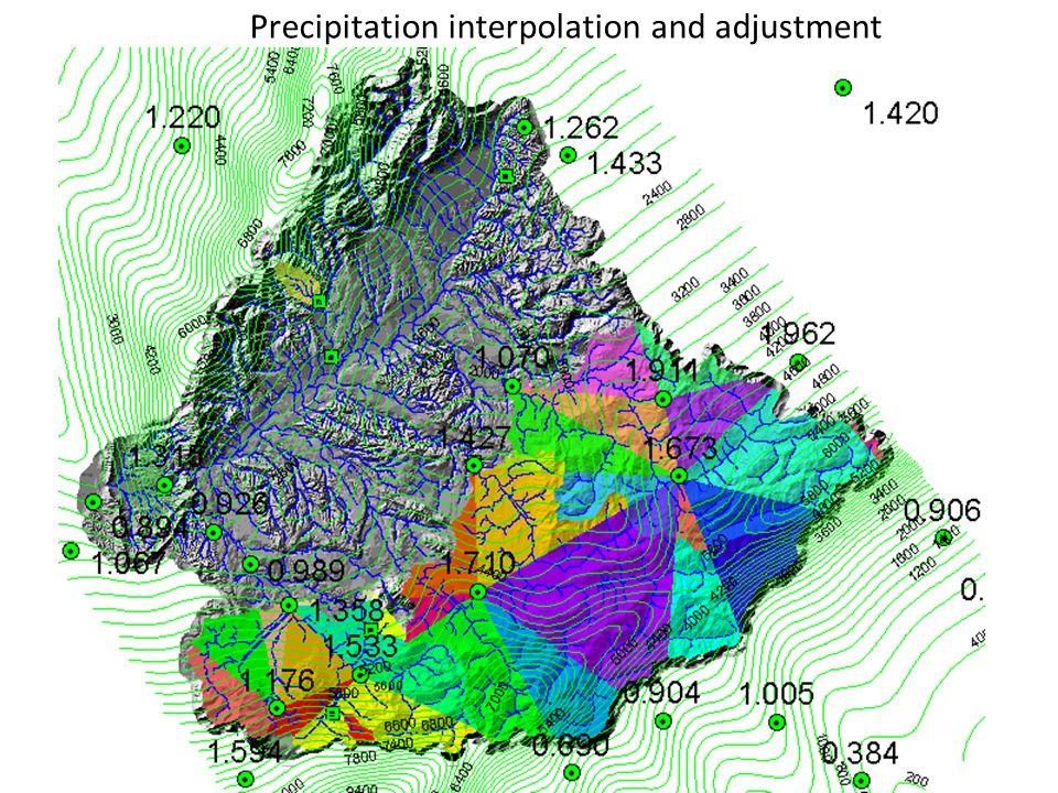 Precipitation interpolation and adjustment