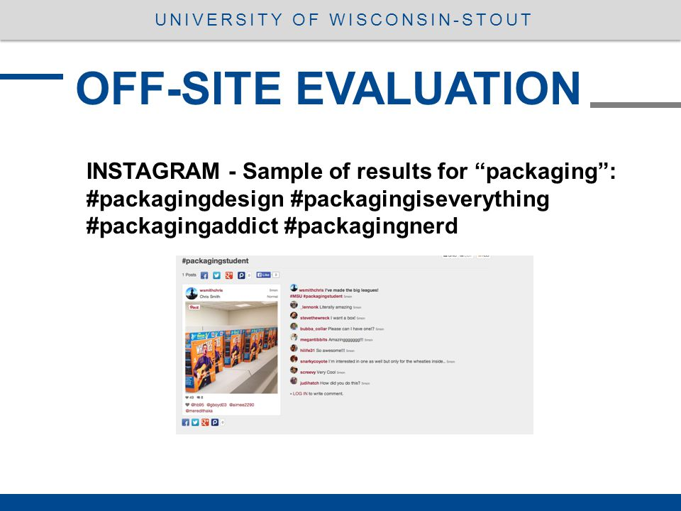OFF-SITE EVALUATION UNIVERSITY OF WISCONSIN-STOUT INSTAGRAM - Sample of results for packaging : #packagingdesign #packagingiseverything #packagingaddict #packagingnerd