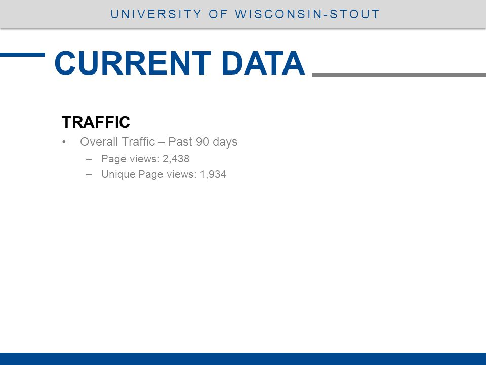 TRAFFIC Overall Traffic – Past 90 days –Page views: 2,438 –Unique Page views: 1,934 CURRENT DATA UNIVERSITY OF WISCONSIN-STOUT