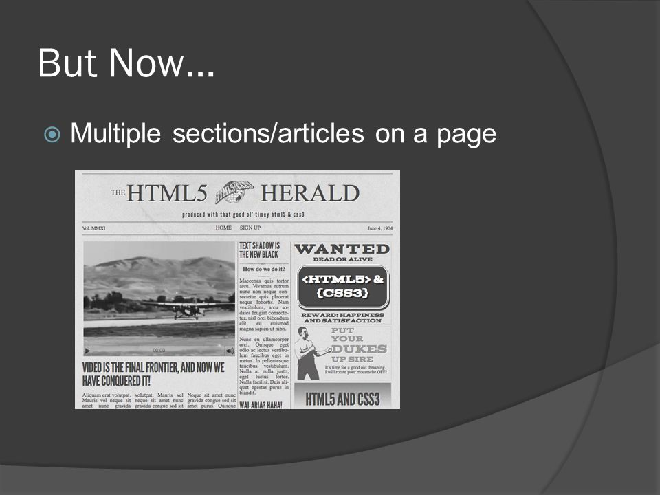 But Now…  Multiple sections/articles on a page