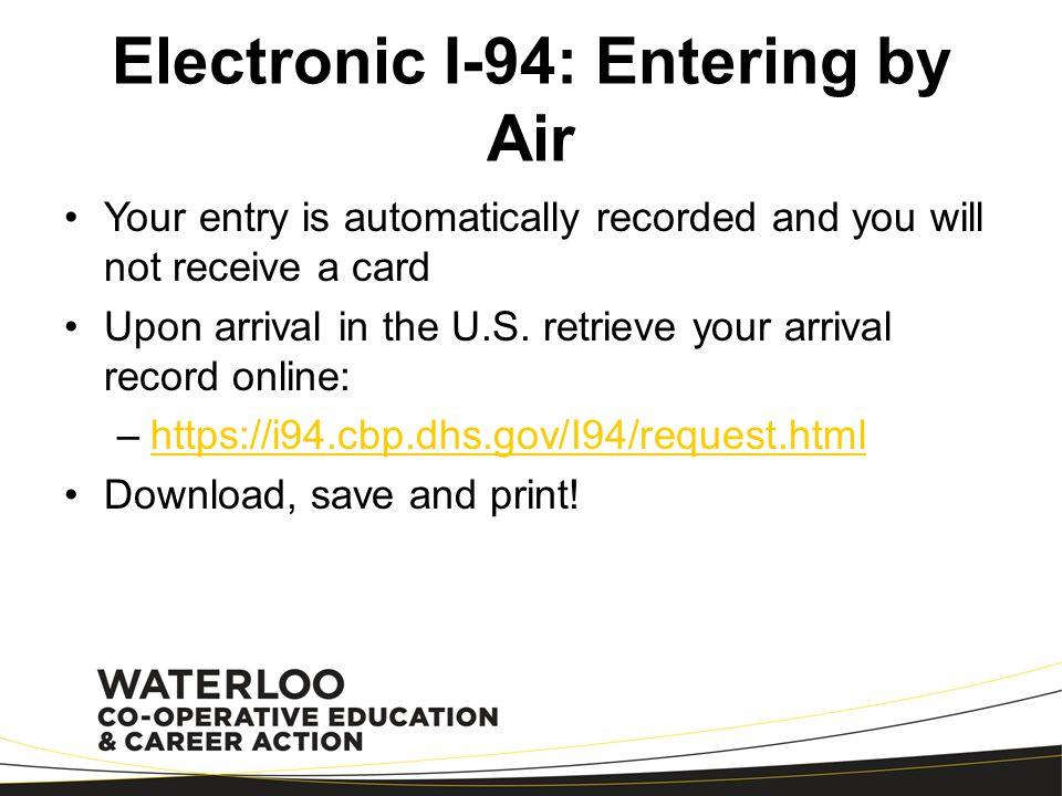Electronic I-94: Flying