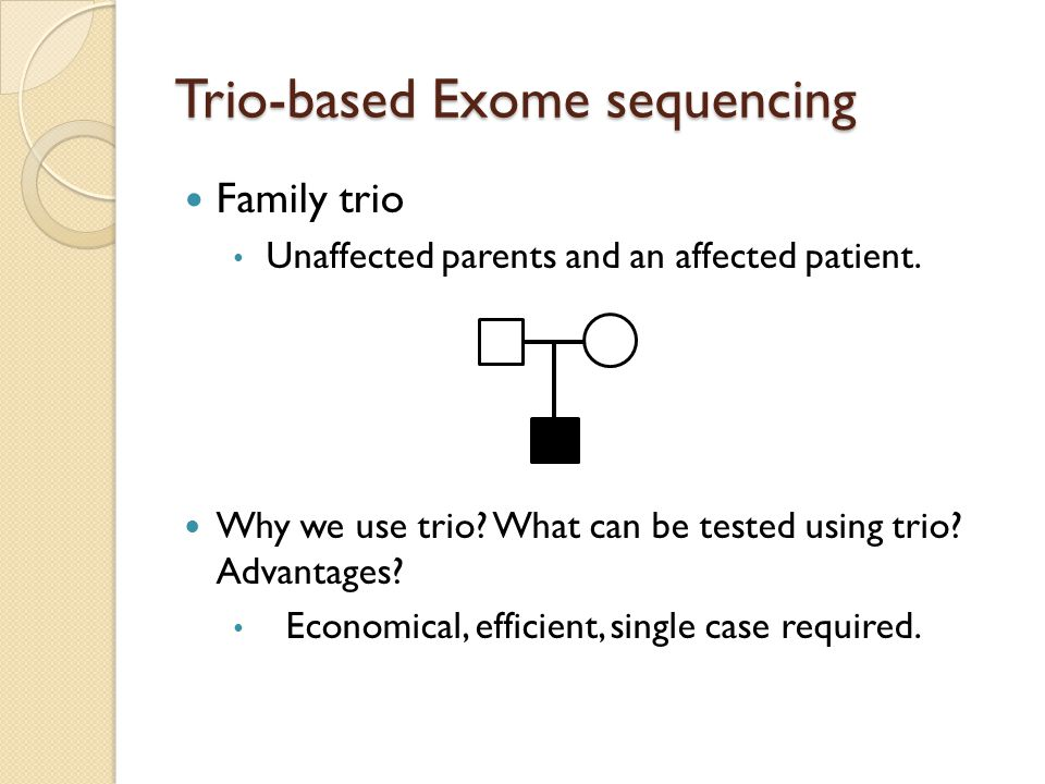 Trio-based Exome sequencing Family trio Unaffected parents and an affected patient. Why we use trio? What can be tested using trio? Advantages? Econom