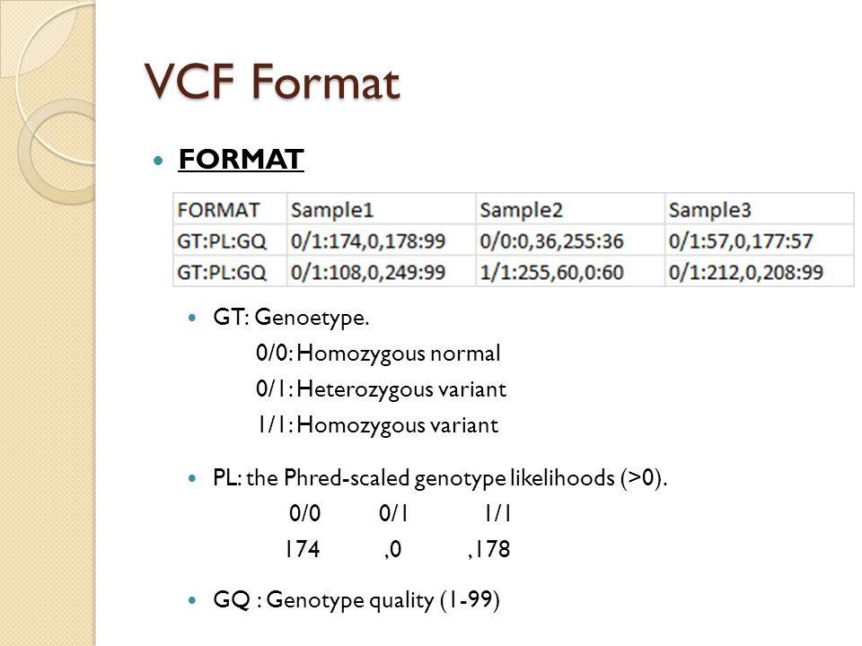 VCF Format FORMAT GT: Genoetype.