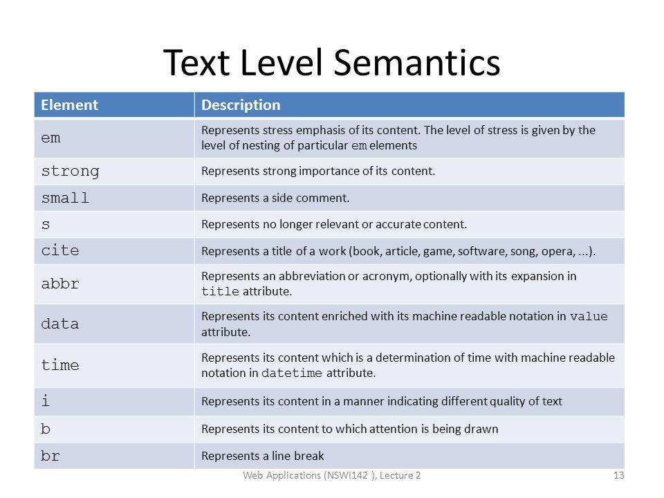 Text Level Semantics Web Applications (NSWI142 ), Lecture 213 ElementDescription em Represents stress emphasis of its content.