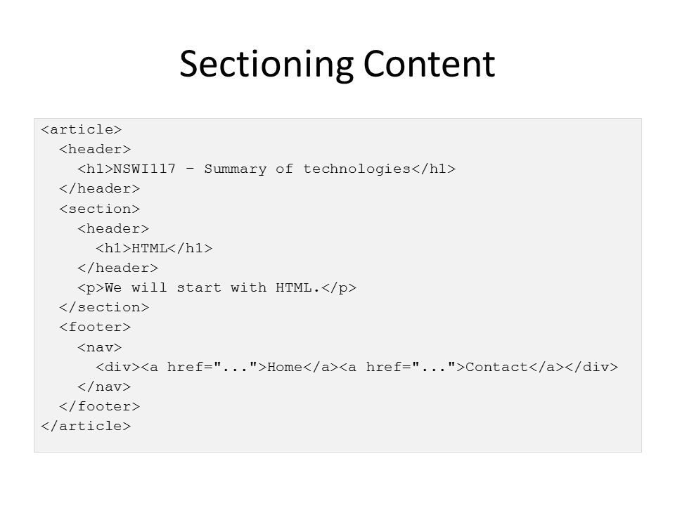 Sectioning Content NSWI117 – Summary of technologies HTML We will start with HTML. Home Contact