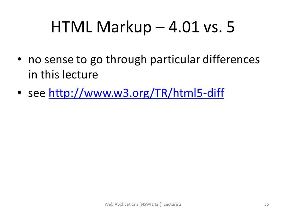 HTML Markup – 4.01 vs.