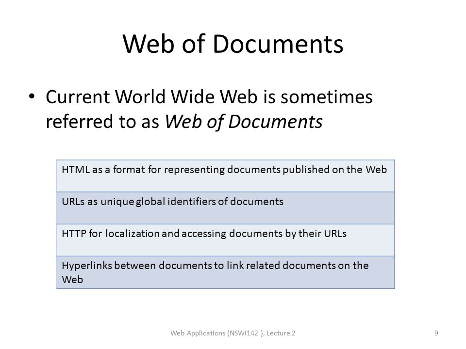 Web of Documents Current World Wide Web is sometimes referred to as Web of Documents Web Applications (NSWI142 ), Lecture 29 HTML as a format for representing documents published on the Web URLs as unique global identifiers of documents HTTP for localization and accessing documents by their URLs Hyperlinks between documents to link related documents on the Web